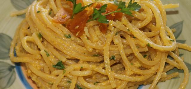 Spaghetti alla finta carbonara di bottarga