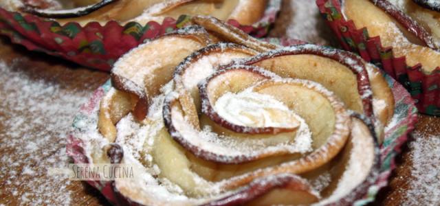 Rose di sfoglia con mela e cannella e pera e cioccolato