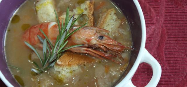 Zuppa di castagne, porcini e gamberi