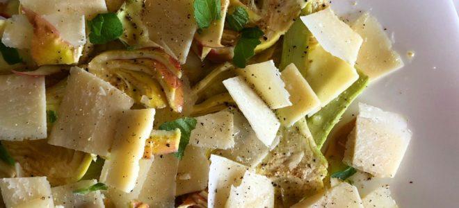 Carpaccio di carciofi e parmigiano reggiano